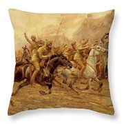 The charge of the Bengal Lancers at Neuve Chapelle Throw Pillow by Derville Rowlandson