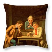 The Checker Players Throw Pillow by George Caleb Bingham