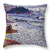The Choppy Sea Throw Pillow by Henri-Edmond Cross