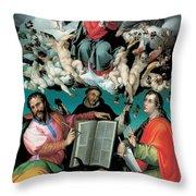 The Coronation Of The Virgin With Saints Luke Dominic And John The Evangelist Throw Pillow by Bartolomeo Passarotti