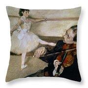 The Dance Lesson Throw Pillow by Edgar Degas