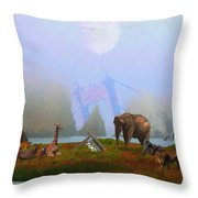 The Day After Armageddon At The San Francisco Zoo Throw Pillow by Wingsdomain Art and Photography