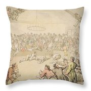 The Dog Fight Throw Pillow by Thomas Rowlandson