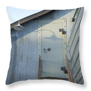 The Entry To A Metal Shed On A Sawmill Throw Pillow by Joel Sartore