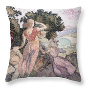 The Excursionists Throw Pillow by Henri-Edmond Cross