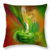 The Feathering Teacup Throw Pillow by Andee Design