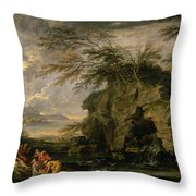 The Finding Of Moses Throw Pillow by Salvator Rosa