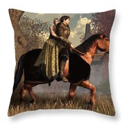 The Golden Knight And His Lady Throw Pillow by Daniel Eskridge