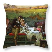 The Honeymoon Throw Pillow by Marcus Stone