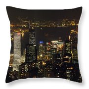 The Hong Kong Skyline Seen Throw Pillow by Justin Guariglia