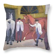 The Horse Mart  Throw Pillow by Robert Polhill Bevan
