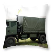 The Iveco M250 8 Ton Truck Used Throw Pillow by Luc De Jaeger