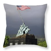 The Iwo Jima Statue Throw Pillow by Michael Wood