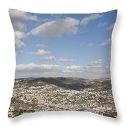 The Jordanian Countryside And The Town Throw Pillow by Taylor S. Kennedy