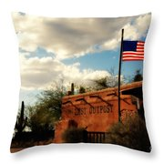 The Last Outpost Old Tuscon Arizona Throw Pillow by Susanne Van Hulst
