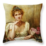 The Letter Throw Pillow by George Goodwin Kilbourne