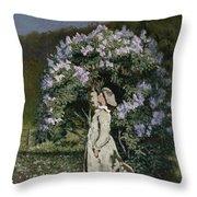 The Lilac Bush Throw Pillow by Olaf Isaachsen