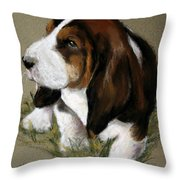 The Little Basset Throw Pillow by Mary Sparrow