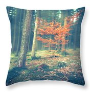 The Little Red Tree - Vintage Throw Pillow by Hannes Cmarits