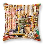The Local Deli Throw Pillow by Wingsdomain Art and Photography