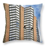 The Loneliness Of The Skyscraper Window Cleaner Throw Pillow by Christine Till