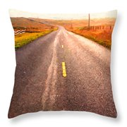 The Long Road Home . Painterly Style Throw Pillow by Wingsdomain Art and Photography