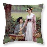 The Lord Of Burleigh Throw Pillow by Edmund Blair Leighton