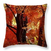 The Magic of Autumn - Digital Abstract Throw Pillow by Carol Groenen