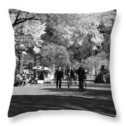 The Mall At Central Park In Black And White Throw Pillow by Rob Hans