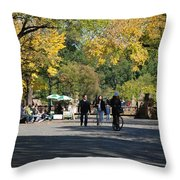 The Mall In Central Park Throw Pillow by Rob Hans