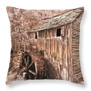 The Mill At Cade's Cove Throw Pillow by Debra and Dave Vanderlaan