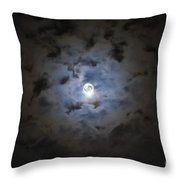 The Moon Covered By A Layer Of Clouds Throw Pillow by Miguel Claro