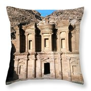 The Nabateian Temple Of Al Deir Throw Pillow by Martin Gray