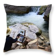 The Narrows Quality Time Throw Pillow by Bob Christopher