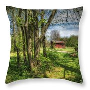 The Old River Shed Throw Pillow by Pamela Baker