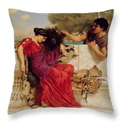 The Old Story Throw Pillow by John William Godward