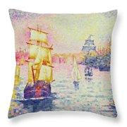 The Port of Marseilles Throw Pillow by Henri-Edmond Cross