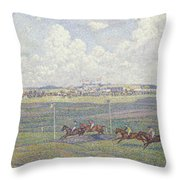 The Racecourse At Boulogne-sur-mer Throw Pillow by Theo van Rysselberghe