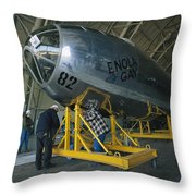 The Reassembled Enola Gay At Its New Throw Pillow by O. Louis Mazzatenta
