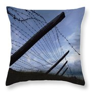 The Remains Of A Barbed Wire Fence That Throw Pillow by Steve Raymer