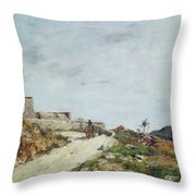 The Road To The Citadel At Villefranche Throw Pillow by Eugene Louis Boudin