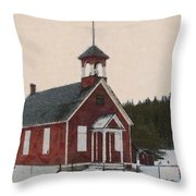 The School House Painterly Throw Pillow by Ernie Echols