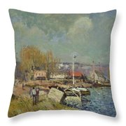 The Seine At Port-marly Throw Pillow by Alfred Sisley