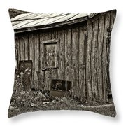 The Shed sepia Throw Pillow by Steve Harrington