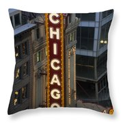 The Sign Outside The Chicago Theater Throw Pillow by Paul Damien