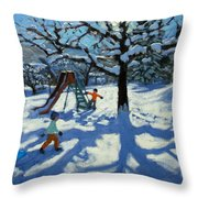 The slide in winter Throw Pillow by Andrew Macara