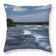 The Surf Breaks On A Beach Throw Pillow by Raymond Gehman