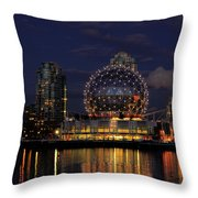 The Telus Science Center At Night Throw Pillow by Lawrence Christopher