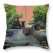 The Turret Of The Leopard 1a5 Main Throw Pillow by Luc De Jaeger