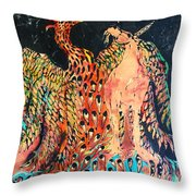 The Unicorn And Phoenix Rise From The Earth Throw Pillow by Carol Law Conklin